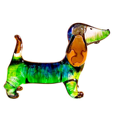 Dachshund Figurines Animals Paint Blown Glass Art Gold Trim Dog Gift Home Decor