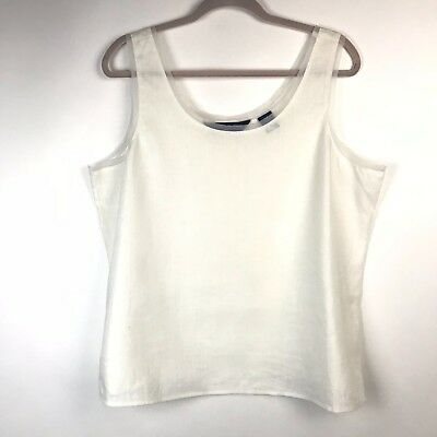 Preston & York Womens Size 16W White Mesh Trim Linen Sleeveless Tank Top Cami