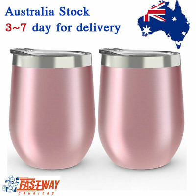 2 Pcs Stainless Steel Stemless Wine Glass Tumbler 350ml Double Wall Tumbler Set