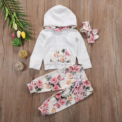 3PCS Baby Girl Infant Clothes Hooded Tops Pants Infant Outfits Sets Tracksuit AU
