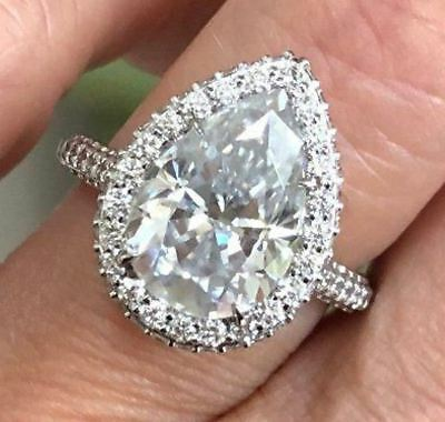 5.15 Ct Pear Cut Diamond Forever Brilliant Bridal Engagement Ring 14k White Gold