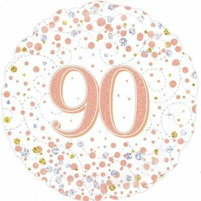 Party Supplies Birthday Adult Rose Gold Fizz 90 90th Ninety 45cm Foil Balloon