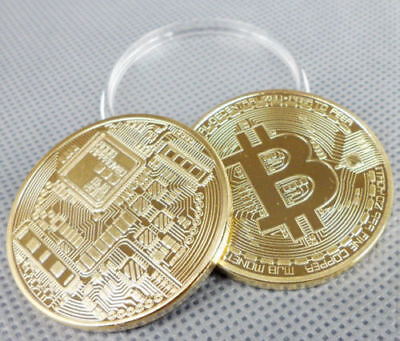 BTC - Gold Plated Physical Bitcoin In Protective By Acrylic Case FAST SHIPPING
