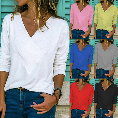 UK Womens Autumn Long Sleeve Pure Casual T shirt Ladies Loose Tops Blouse V-neck