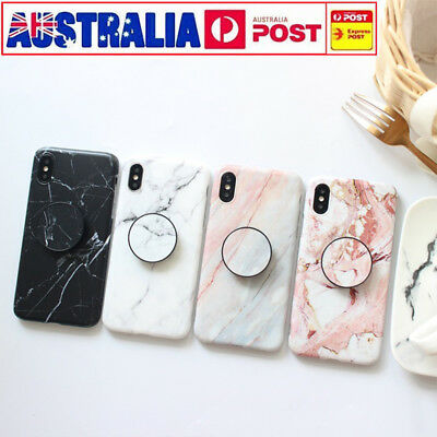 CHIC Marble Put Up Holder Soft Case Cover For iPhone 6 7 8 6s X XR XS Max 8 Plus