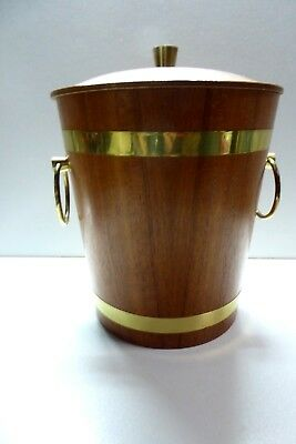 Teak Brass Bound Ice Bucket Retro Mid Century Bar
