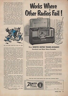 1952 Vintage Print Ad Zenith Super Trans-Oceanic Short-Wave Portable Radio
