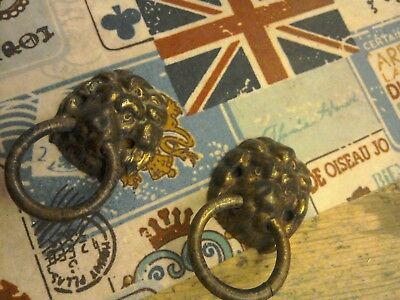 Antique Brass Lion Head Door Knocker Handles 2 Pair Wooden Box Furniture Salvage