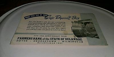 1947 ad Farmers Bank Of the State Of Delaware Dover Georgetown Wilmington Safe