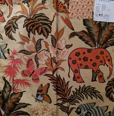 "Travers Caravan Tropical Elephant Fabric Remnant 15 1/2""w x 15 1/2""l"