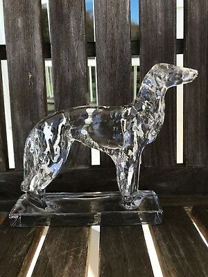Art Deco Clear Glass Borzoi Russian Wolfhound Bookend Paperweight