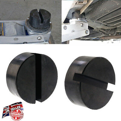 2xCar75mm Slotted Rail Floor Jack Disk Pad Adapter Rubber For Pinch Weld JackPad
