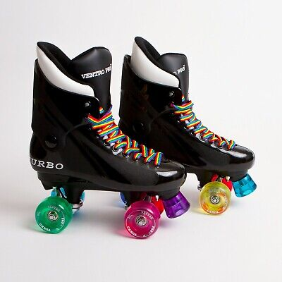 Ventro Pro Quad Roller Skates, Turbo 33 Style - Rainbow Mixed Wheels & Laces