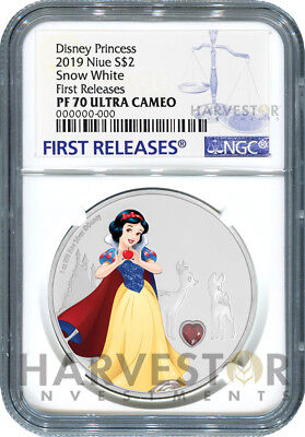 2019 Disney Princess With Gemstone - Snow White - Ngc Pf70 First Releases W/ogp