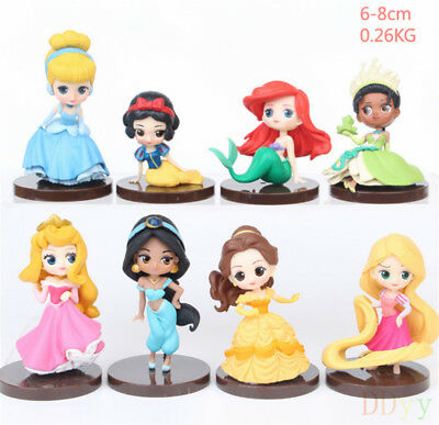 8pcs/set Q Posket Princesses Toys Dolls Tiana Snow White Rapunzel decoration New