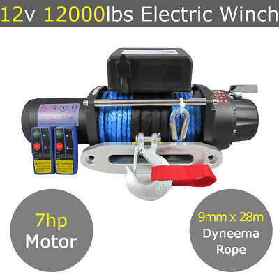 12V 12000lbs Electric Winch 9mm 28m Dyneema Rope 4WD 4x4 13000lbs 13500lbs Red