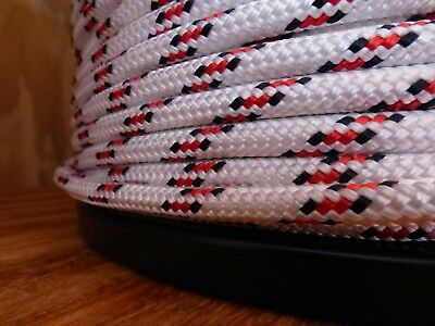 """3/8"""" x 100 ft. Double Braid-Yacht Braid Polyester Rope.White/Navy/Red. US Made"""