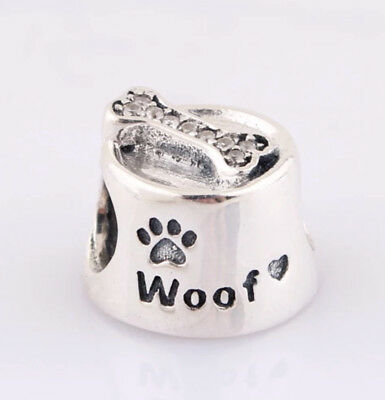 New! Authentic Pandora Silver Charm Woof Dog Bowl #791708Cz