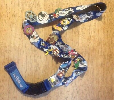 Lot of 20 Disney Pin Traders Pins on Authentic Lanyard Hidden Mickey