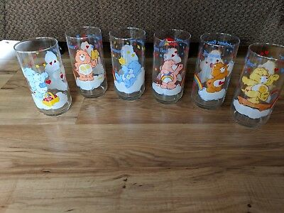 Lot Of 6 Vintage 1984 Care Bears French Tumbler Glasses