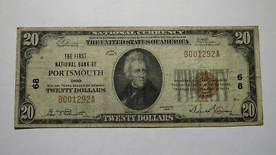 $20 1929 Portsmouth Ohio OH National Currency Bank Note Bill Ch. #68 FINE!