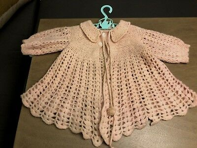 Antique Crochet Baby Sweater Jacket - Pink Wool Adorable Handmade