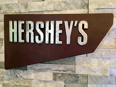 Vintage Hersheys Candy Sign Advertising Store Display Man Cave Decor Restaurant