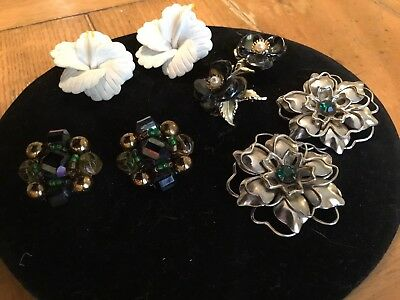 Vintage LOT Of Four Pairs Of Unusual Flower Motif Clip Earrings
