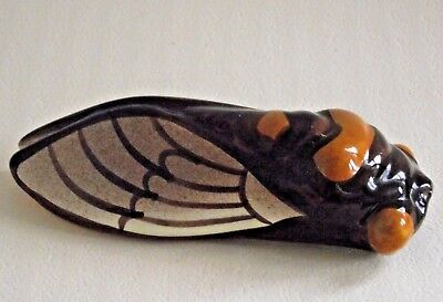 Super French Vintage CICADA Fly Wall Pocket Vase Brown and Orange 567