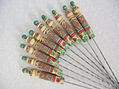 Wonderful Set of 10 Large Decorative Wood and Metal Barbecue/Kebab Skewers 758