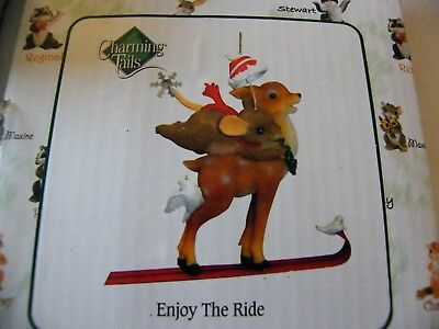 Charming Tails ENJOY THE RIDE Christmas Ornament - Mouse & Deer