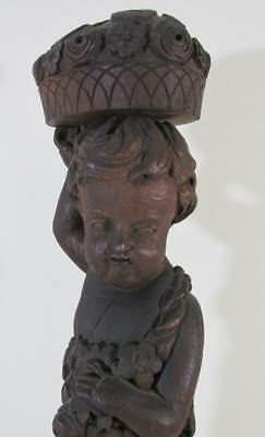 """Antique Wood Carved Figure Child/Cherub Statue With Fruit/Flowers 31"""" Tall!"""