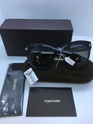 ece2c697ca Authentic Tom Ford TF 430 Lily 05D Black Cat-Eye Sunglasses Grey Polarized  Lens
