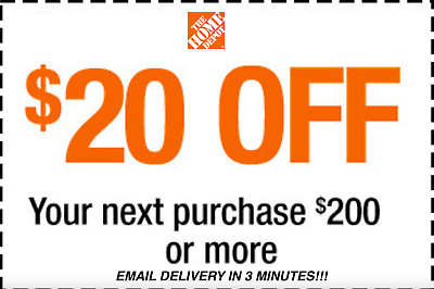 ONE 1x HOME DEPOT $20 OFF $200 PROMOTION DISCOUNT - INSTORE FAST SHIPMENT