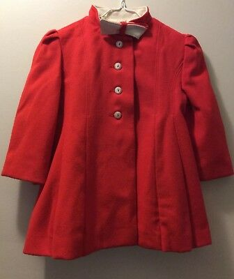 Vtg CUTE TOGS NY CHRISTMAS RED COAT GIRLS / TODDLERS - Size 3
