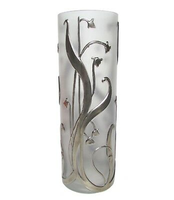 Clear Glass Vase with Floral Sterling Silver Overlay
