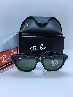 ad0c9dd81 Ray Ban RB2140 901/58 Original Wayfarer Classics Black Frame/ Polarized  Green 54