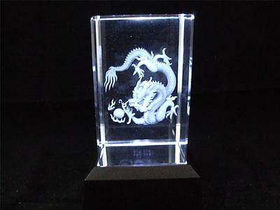 Dragon Design Solid Glass Crystal Laser Block with a White Light Box Base