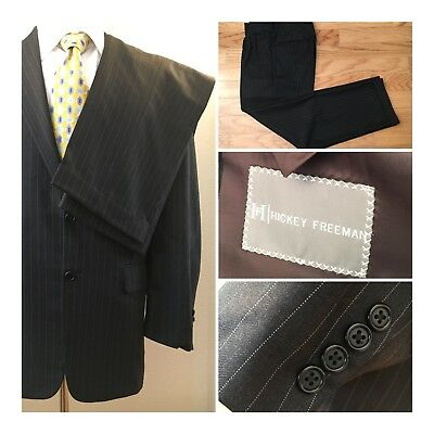 Hickey Freeman Suit sz 38 Brown Pinstripe Suit Wool 2 Button   Pants 32 X 30