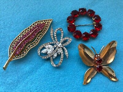 Lot of 4 Vintage Pins Brooches**Rhinestones**Feather**Circle**Butterfly**