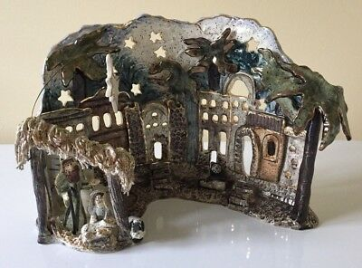 Blue Sky Clayworks Heather Goldminc Large Nativity Scene O Holy Night Tea Light