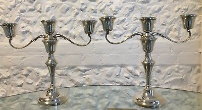 Pair of Georgian Style Silver Filled Three Branch Candelabras, 23.5cm high, 934g