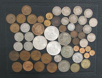 Lot MEXICO 55 Vintage Coins, w/ SILVER 1977 100 Pesos and Olympic 1968 25 Pesos