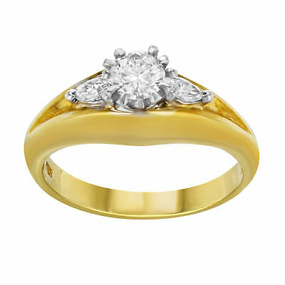 Three Stone Diamond Engagement Ladies Ring in 18K Yellow Gold 0.50 Cttw Size 6.5