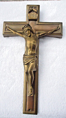 "Vintage  CRUCIFIX Casket Cross 14""  wall"