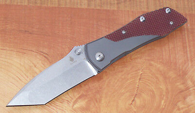 Kizer Ki3303 Folding Knife Titanium & Red G-10 Handle Aus8 Stainless Tanto Blade