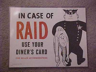 "Harolds Club Casino Reno ""in Case Of Raid, Use Your Diner's Card"" Sign"