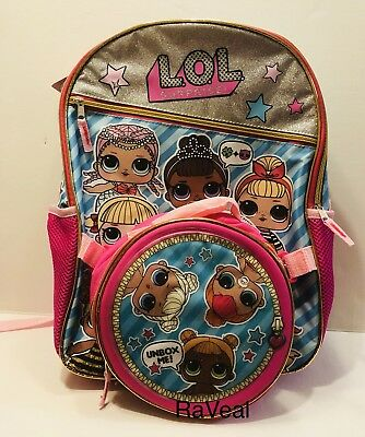 """LOL SURPRISE LG 16"""" Backpack w/Lunch Box  Featuring Goo Goo Merbaby Miss Baby"""