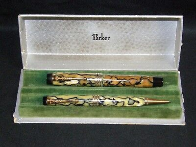 Vintage Geo S. Parker Duofold Deluxe Fountain Pen & Pencil Set Boxed