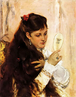 Oil painting Alfred Stevens Beautiful young girl holding mirror figure portraits